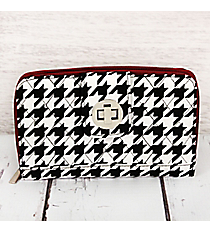 Houndstooth with Burgundy Trim Quilted Organizer Clutch Wallet #HE517-BURGUNDY
