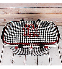 Houndstooth with Burgundy Trim Collapsible Insulated Market Basket with Lid #HE658-BURGUNDY