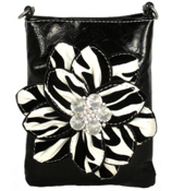 Black Hipette Bag with Flocked Zebra Flower #FH354-BLACK