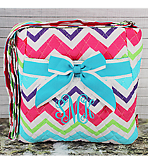 Multi-Chevron Quilted Crossbody with Aqua Trim #HJQ1717-AQUA