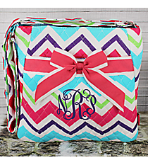 Multi-Chevron Quilted Crossbody with Hot Pink Trim #HJQ1717-H/PINK