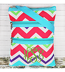 Multi-Chevron Crossbody Bag with Aqua Trim #HJQ231-AQUA