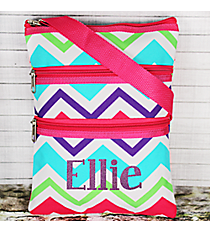 Multi-Chevron Crossbody Bag with Hot Pink #HJQ231-H/PINK
