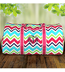 "21"" Multi-Chevron Quilted Duffle Bag with Hot Pink Trim #HJQ2626-H/PINK"
