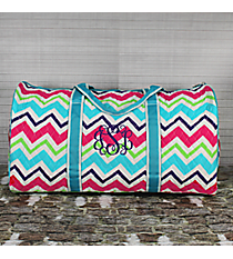 "21"" Multi-Chevron Quilted Duffle Bag with Aqua Trim #HJQ2626-AQUA"