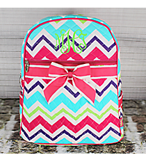 Multi-Chevron Quilted Large Backpack with Hot Pink Trim #HJQ2828-H/PINK