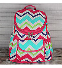 Multi-Chevron Quilted Petite Backpack with Hot Pink Trim #HJQ286-H/PINK