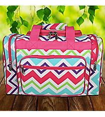 "17"" Multi-Chevron Duffle Bag with Hot Pink Trim #HJQ417-HPINK"