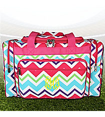 "20"" Multi-Chevron Duffle Bag with Hot Pink Trim #HJQ420-HPINK"