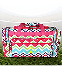 "23"" Multi-Chevron Duffle Bag with Hot Pink Trim #HJQ423-HPINK"