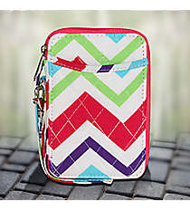 Multi-Chevron with Hot Pink Trim Quilted Wristlet #HJQ495-H/PINK