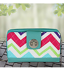 Multi-Chevron with Aqua Trim Quilted Organizer Clutch Wallet #HJQ517-AQUA