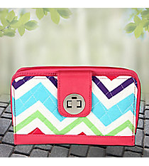 Multi-Chevron with Hot Pink Trim Quilted Organizer Clutch Wallet #HJQ517-HPINK