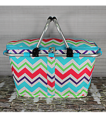 Multi-Chevron with Aqua Trim Collapsible Insulated Market Basket with Lid #HJQ658-AQUA