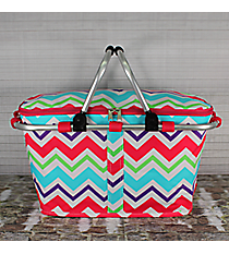 Multi-Chevron with Hot Pink Trim Collapsible Insulated Market Basket with Lid #HJQ658-H/PINK