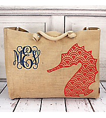 Large Jute Shoulder Tote with Coral Seahorse #HM634-CORAL
