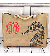Large Jute Shoulder Tote with Gray Seahorse #HM634-GRAY