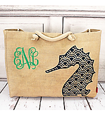 Large Jute Shoulder Tote with Navy Seahorse #HM634-NAVY