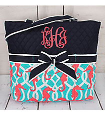 Hold Your Seahorses Quilted Diaper Bag #HMA2121-NAVY