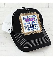 Black 'Hide Your Crazy' Trucker Cap #HT1504-BK