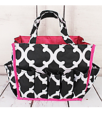 Black and White Moroccan with Dark Pink Trim Organizer Bag #HY009-11-BW-P