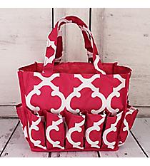 Dark Pink and White Moroccan Organizer Bag #HY009-11-P