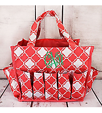 Coral Pink and White Quatrefoil Organizer Bag #HY009-15-P