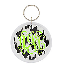 Houndstooth Round Acrylic Key Tag #991