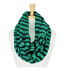 Turquoise and Midnight Striped Infinity Scarf #IF0001-TQM