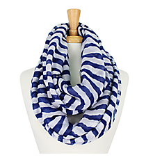Midnight Blue and White Striped Infinity Scarf #IF0001-WM