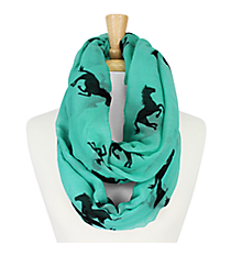 Turquoise Horse Print Infinity Scarf #IF0005-TQ