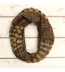 Brown and Gold Accented Knit Infinity Scarf #IF0072-GB