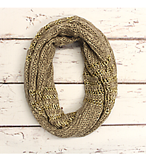 Natural and Gold Accented Knit Infinity Scarf #IF0072-GN