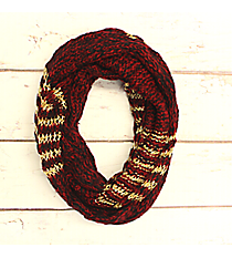 Burgundy and Gold Accented Knit Infinity Scarf #IF0072-GR