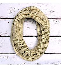 Ivory and Gold Accented Knit Infinity Scarf #IF0072-GW