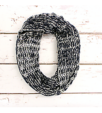 Midnight Blue and Silver Accented Knit Infinity Scarf #IF0072-SM