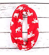 Red with White Elephants Infinity Scarf #IF0087-RW