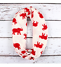White with Red Elephants Infinity Scarf #IF0087-WR