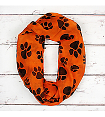 Orange with Black Paw Prints Infinity Scarf #IF0091-JO