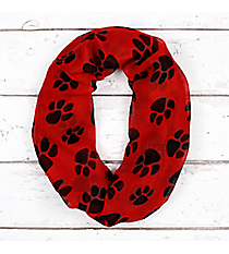 Red with Black Paw Prints Infinity Scarf #IF0091-JR