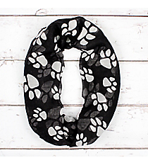 Black with White Paw Prints Infinity Scarf #IF0091-JW