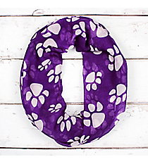 Purple with White Paw Prints Infinity Scarf #IF0091-WA