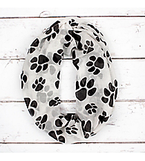 White with Black Paw Prints Infinity Scarf #IF0091-WJ