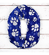 Royal Blue with White Paw Prints Infinity Scarf #IF0091-WM
