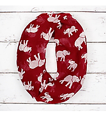 Crimson with White Elephants Infinity Scarf #IF0092-RW