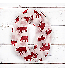 White with Crimson Elephants Infinity Scarf #IF0092-WR