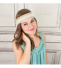 Lace and Pearl Accented Jute Headband #IH0266-NW