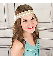 Pearl and Lace Flower Accented Jute Headband #IH0268-NW