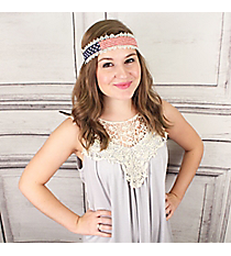 American Flag Seed Bead Headband with Lace Trim #IH0275-MR