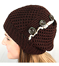 Button Accented Brown Crochet Beanie #IJ0001-B